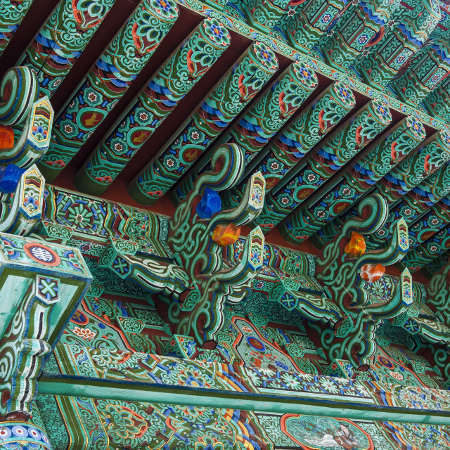 """Colourful painted ceiling, Beopjusa Temple Complex, South Korea, Asia"" stock image"