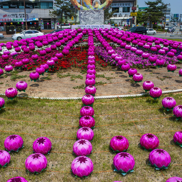 """Colourful lanterns around the King Seong statue, Buyeo, South Korea, Asia"" stock image"