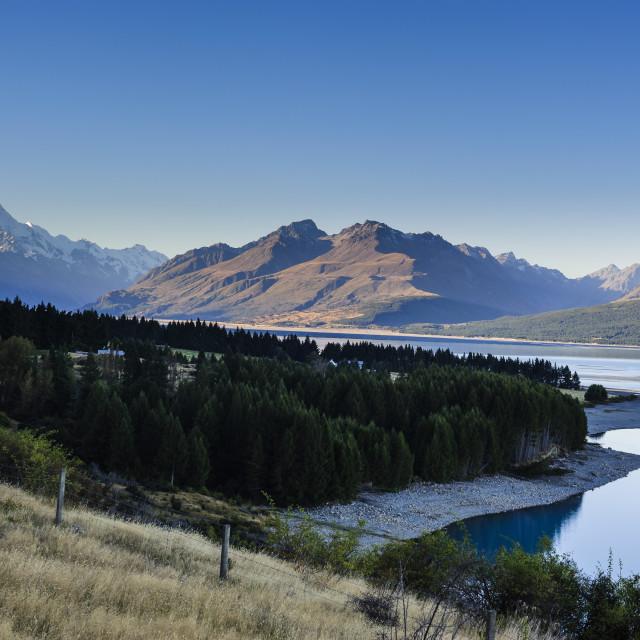 """""""Lake Pukaki, Mount Cook National Park, South Island, New Zealand"""" stock image"""