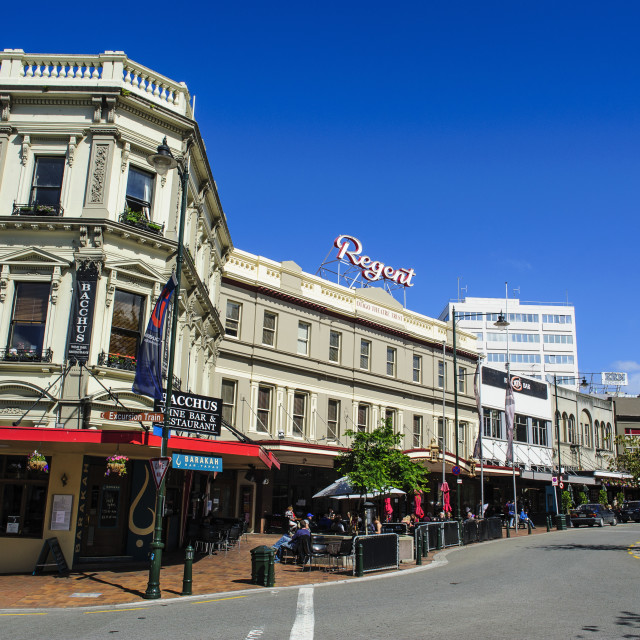 """""""The Octagon town center of Dunedin, South Island, New Zealand"""" stock image"""