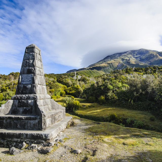 """Memorial on the bottom of Mount Taranaki, North Island, New Zealand, Pacific"" stock image"