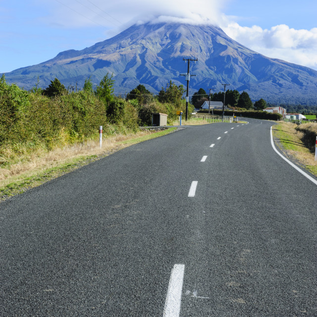 """Road leading to Mount Taranaki, North Island, New Zealand, Pacific"" stock image"