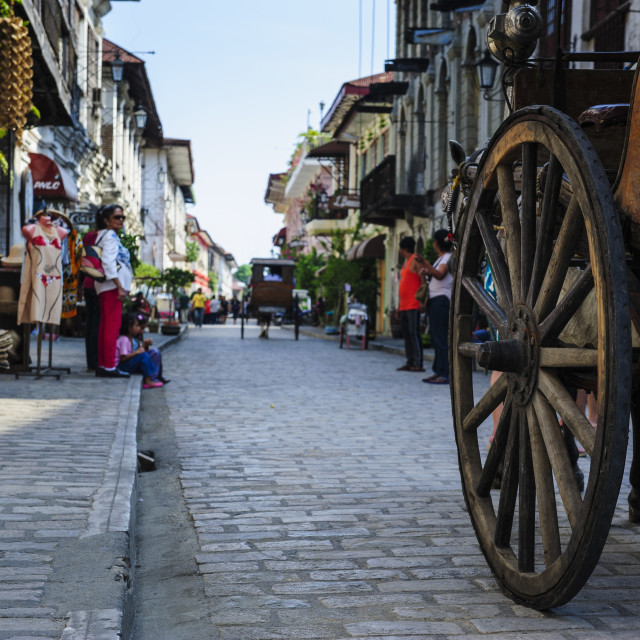 """""""Close up of a horse cart riding through the Spanish colonial architecture,..."""" stock image"""
