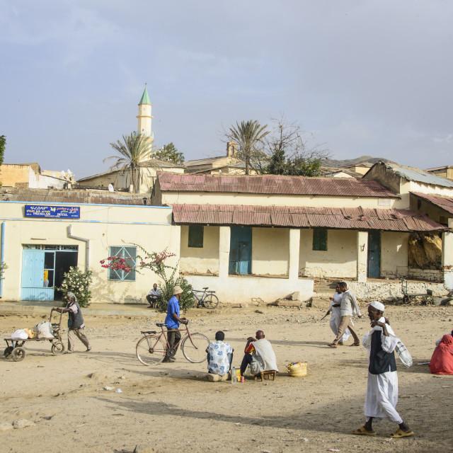 """Street scene in the town of Keren, Eritrea, Africa"" stock image"