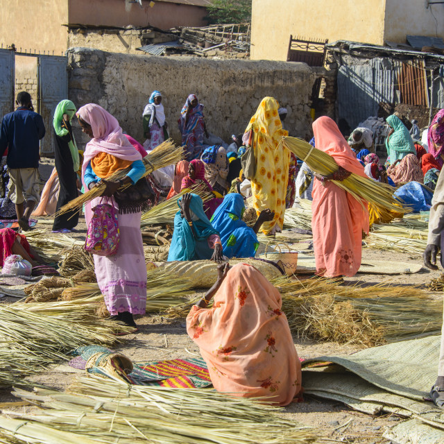 """Women selling their goods at the colourful Monday market of Keren, Eritrea,..."" stock image"