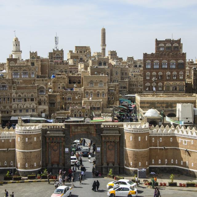 """""""Bab al Yemen and the Old Town, UNESCO World Heritage Site, Sanaa, Yemen,..."""" stock image"""