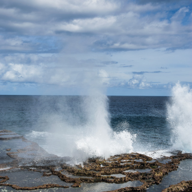"""Mapu'a 'a Vaea Blowholes, Tongatapu, Tonga, South Pacific, Pacific"" stock image"
