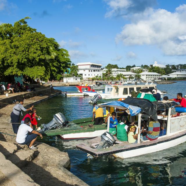 """Little boats in the harbour of Neiafu, Vavau, Vavau Islands, Tonga, South..."" stock image"