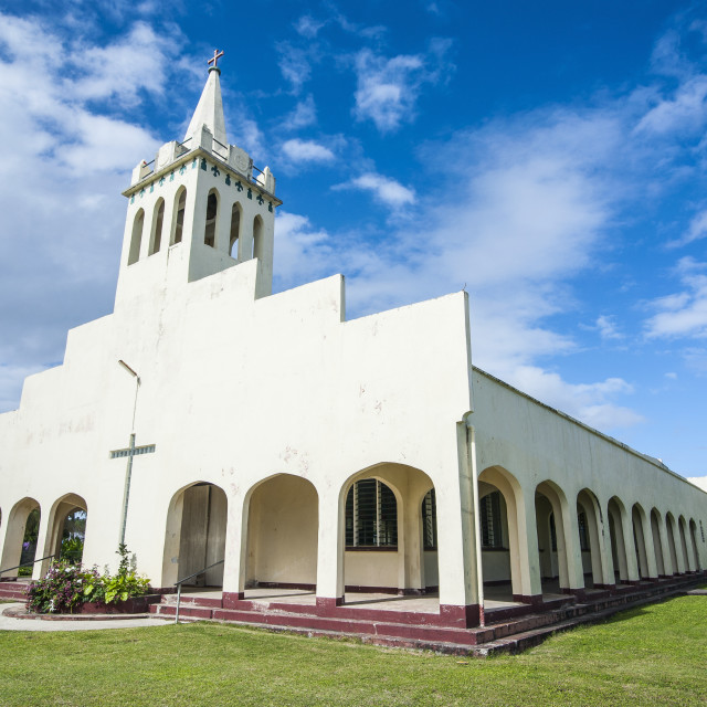 """White Christian church in Haapai, Haapai Islands, Tonga, South Pacific, Pacific"" stock image"