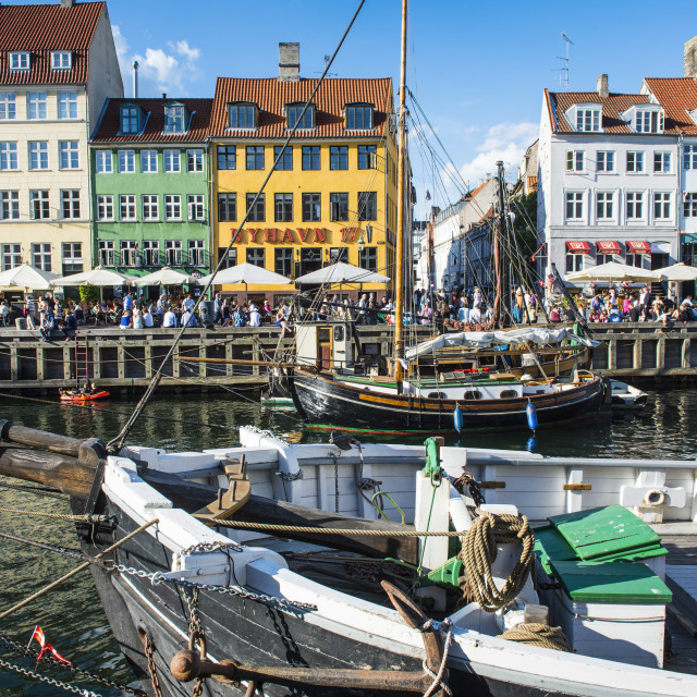 """Fishing boats in Nyhavn, 17th century waterfront, Copenhagen, Denmark,..."" stock image"