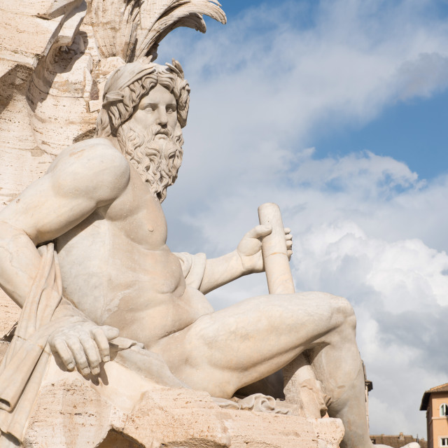 """""""The Fountain of the four Rivers, Piazza Navona, Rome, Lazio, Italy, Europe"""" stock image"""