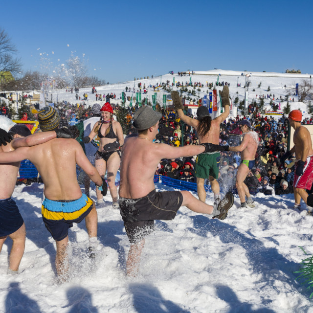 """Bain de Neige (Snow Bath), Quebec Winter Carnival, Quebec City, Quebec,..."" stock image"