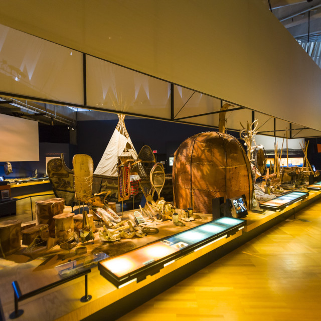 """Dispaly of First Nations artifacts, Museum of Civilization, Quebec City,..."" stock image"