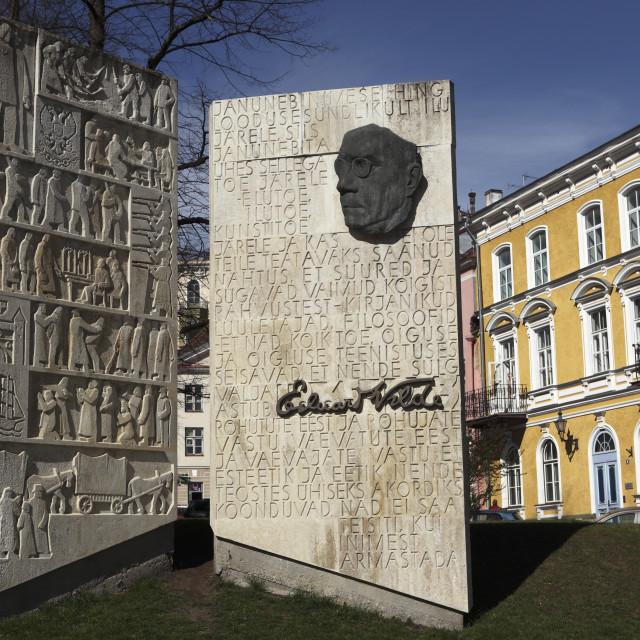 """Monument to the Estonian author Eduard Vilde, in Tallinn, Estonia, Europe"" stock image"