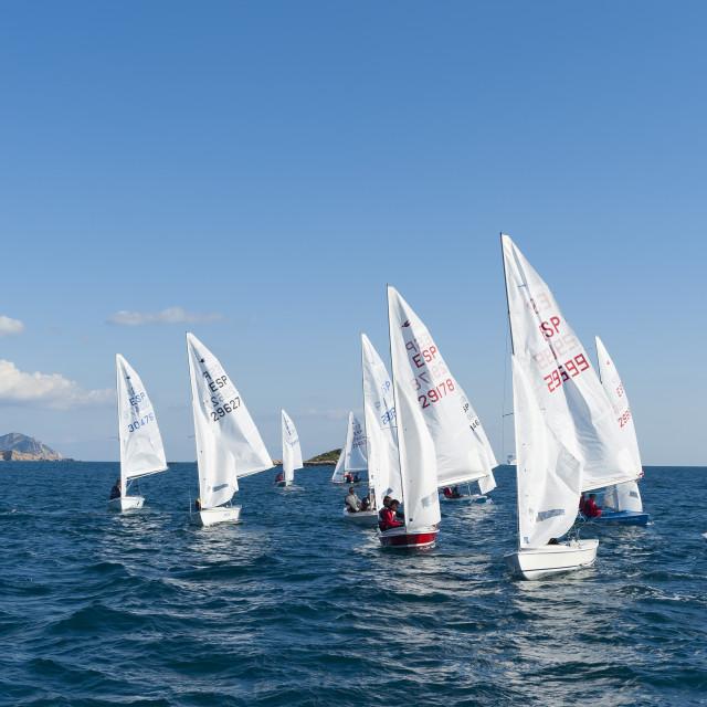 """Sailboats participating in Regatta, Ibiza, Balearic Islands, Spain,..."" stock image"