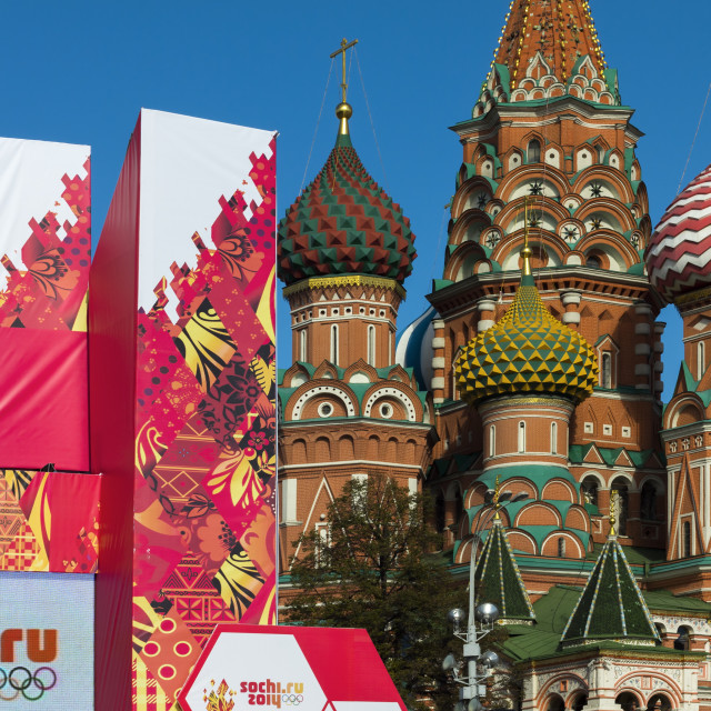 """Torch Relay stand for Sochi Winter Olympics 2014, with onion domes of St...."" stock image"