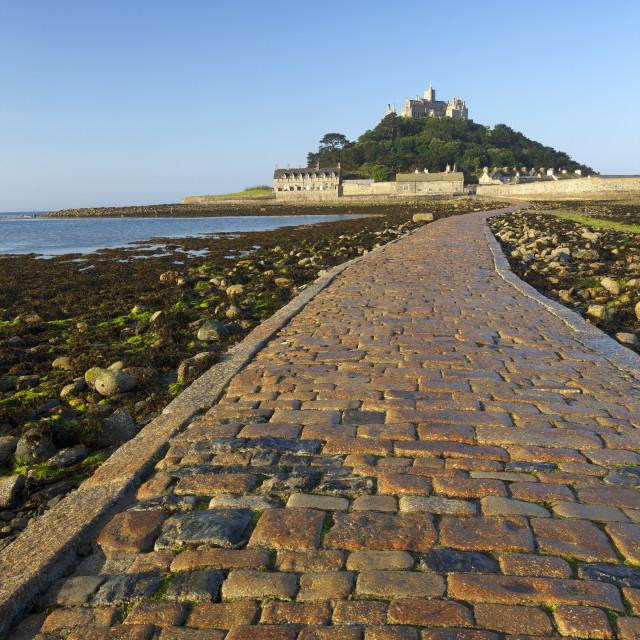 """Causeway to St. Michaels Mount, Penzance, Cornwall, England, United Kingdom,..."" stock image"