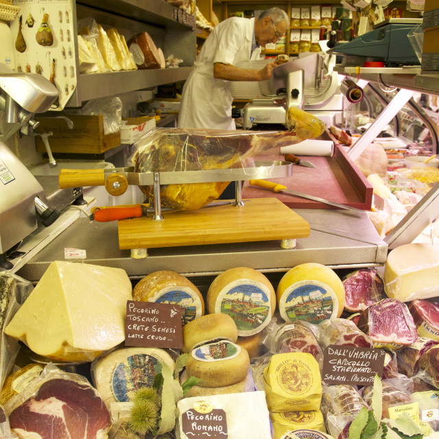 """Delicatessen food store with cheese and ham on sale, Rome, Lazio, Italy, Europe"" stock image"