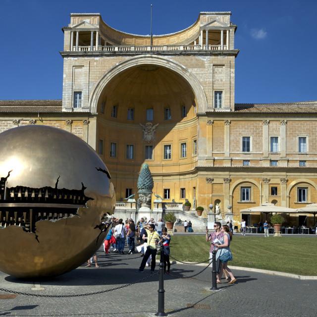 """""""Sphere Within Sphere, in the Cortile della Pigna, by Arnaldo Pomodoro, 1990,..."""" stock image"""