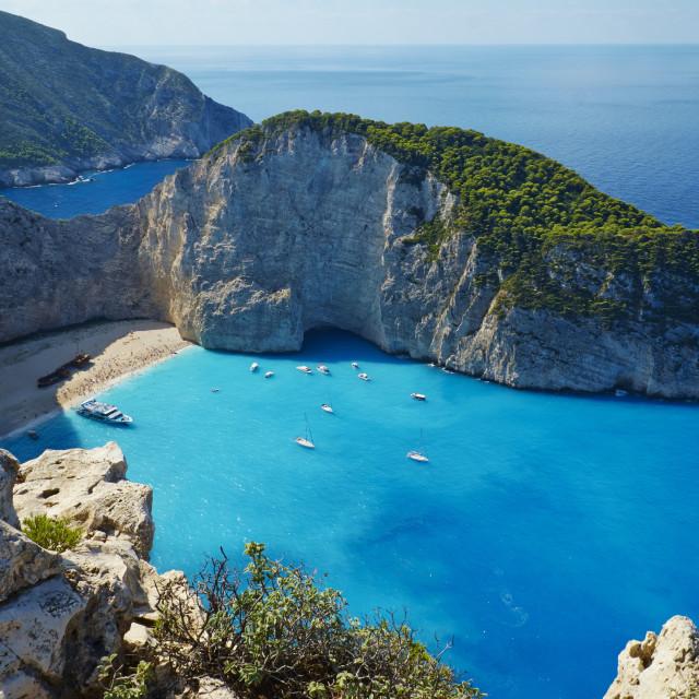 """Shipwreck beach, Zante island, Ionian Islands, Greek Islands, Greece, Europe"" stock image"