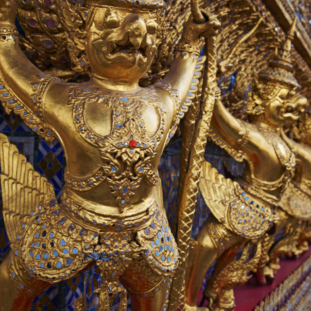 """Detail of Wat Phra Kaew inside the Royal Palace, Bangkok, Thailand, Southeast..."" stock image"