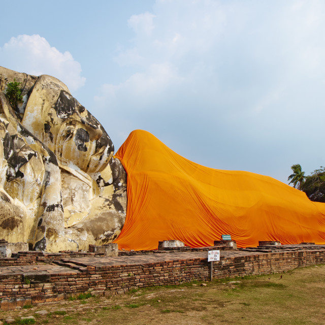 """Sleeping Buddha, Wat Lokaya Sutha, Ayutthaya Historical Park, UNESCO World..."" stock image"