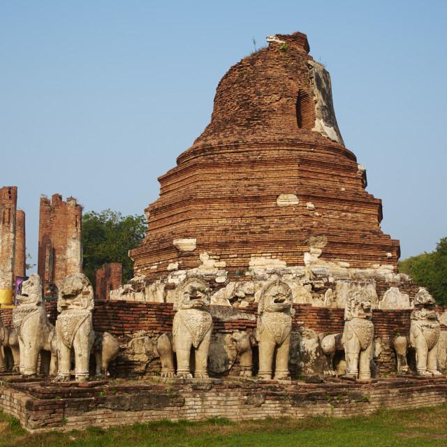"""Wat Chaimongkhon, Ayutthaya Historical Park, UNESCO World Heritage Site,..."" stock image"