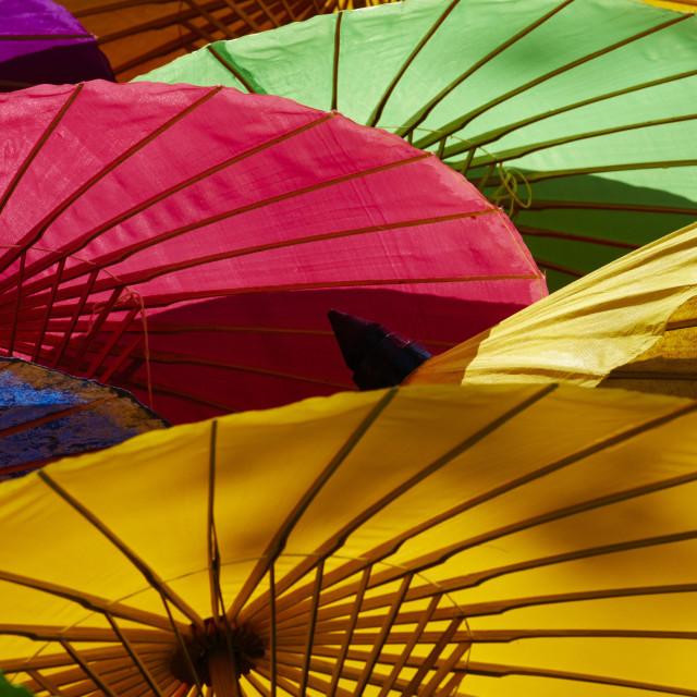 """Umbrellas at Borsang Handicraft Village, Chiang Mai, Thailand, Southeast..."" stock image"