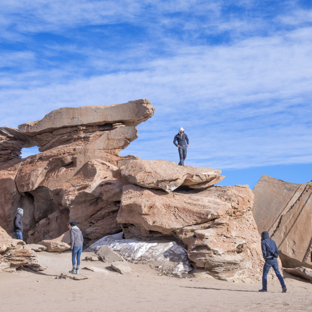 """""""Tourists explore the Pampa Siloli high altitude desert of volcanic ash and..."""" stock image"""