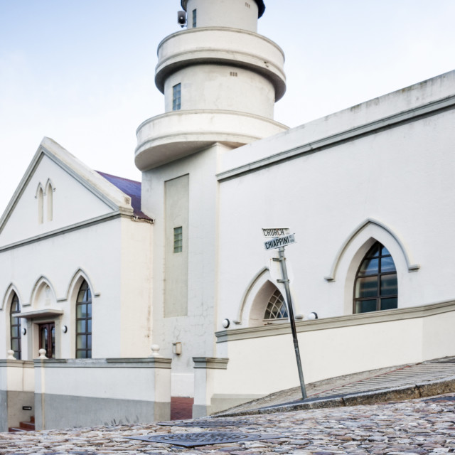 """""""Cobblestones and the exterior of a church in Bo-Kaap residential district,..."""" stock image"""