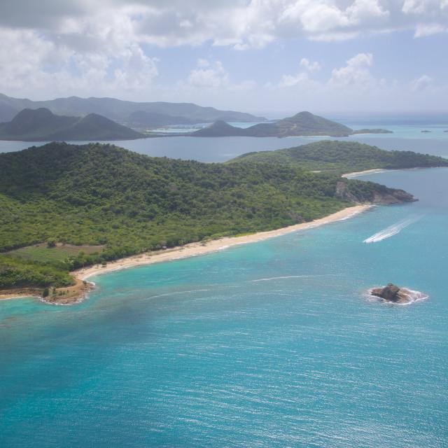 """View over Hawksbill Bay, Antigua, Leeward Islands, West Indies, Caribbean,..."" stock image"