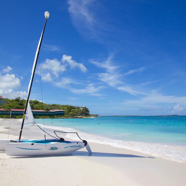 """Long Bay and beach and hobie cat, Antigua, Leeward Islands, West Indies,..."" stock image"