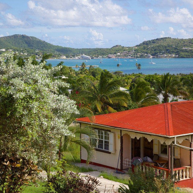 """""""View of English Harbour and Nelson's Dockyard, Antigua, Leeward Islands, West..."""" stock image"""