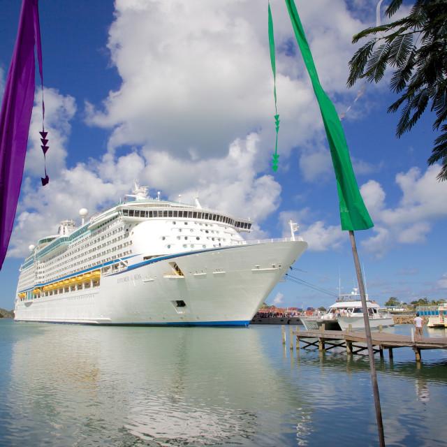 """Cruise ship in port, St. Johns, Antigua, Leeward Islands, West Indies,..."" stock image"