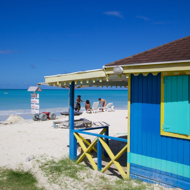 """Beach and beach hut, Dickenson Bay, St. Georges, Antigua, Leeward Islands,..."" stock image"