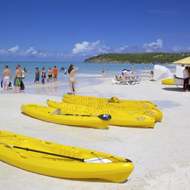 """""""Beach, Dickenson Bay, St. Georges, Antigua, Leeward Islands, West Indies,..."""" stock image"""
