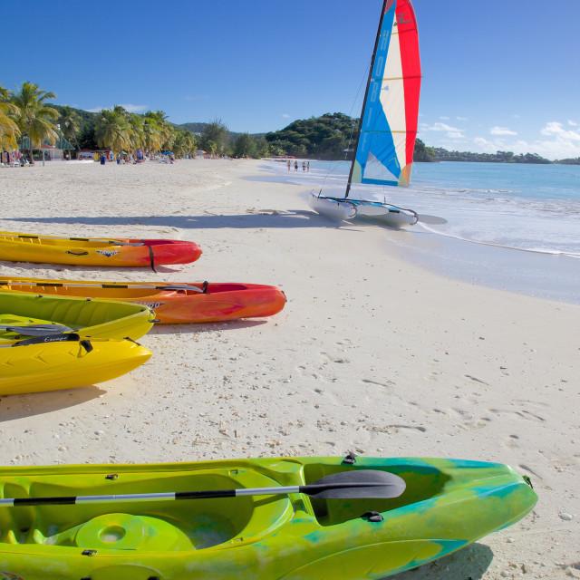 """Beach, Jolly Harbour, St. Mary, Antigua, Leeward Islands, West Indies,..."" stock image"