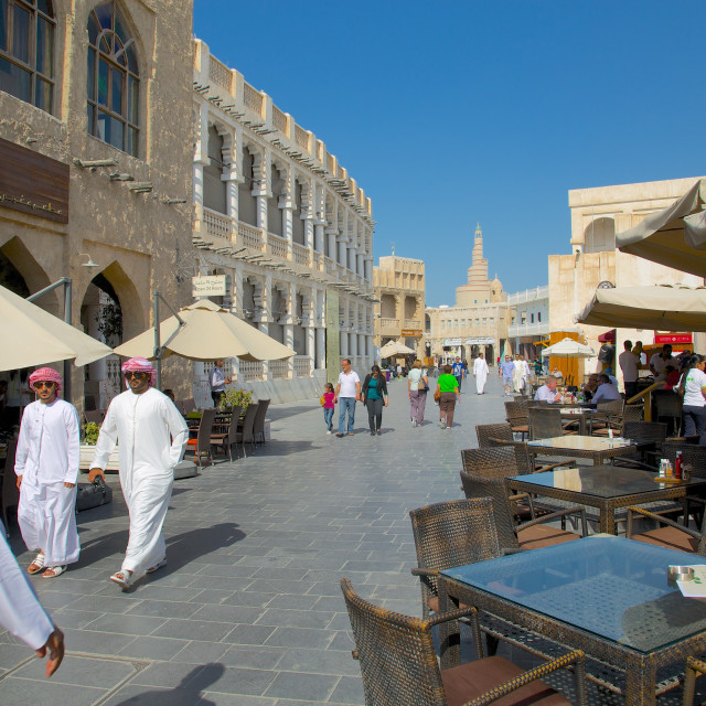 """""""The restored Souq Waqif and Spiral Mosque of the Kassem Darwish Fakhroo..."""" stock image"""