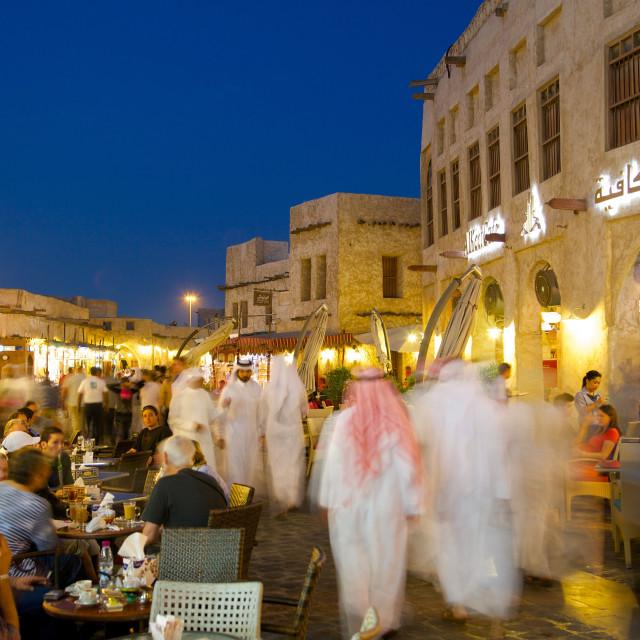 """Souq Waqif at dusk, Doha, Qatar, Middle East"" stock image"
