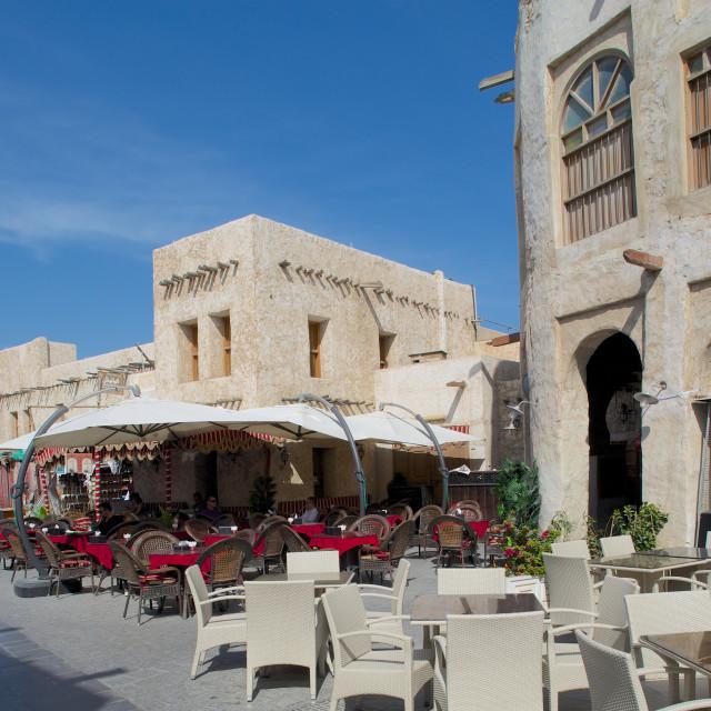 """""""Restaurants, Waqif Souq, Doha, Qatar, Middle East"""" stock image"""