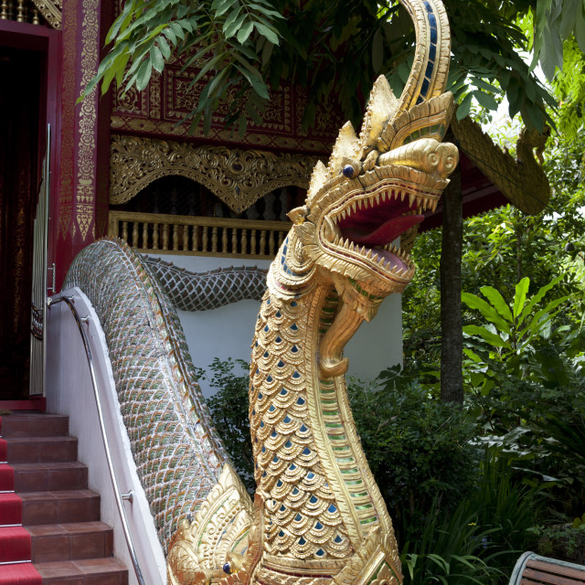"""Gilded dragon outside Wat Phra Kaew temple, Chiang Rai, Northern Thailand,..."" stock image"