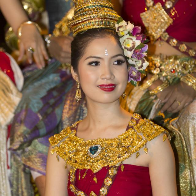 """Young Thai woman at Loi Krathong festival, Chiang Mai, Northern Thailand,..."" stock image"