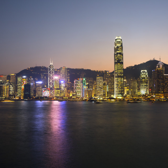 """""""View over Victoria harbour to Hong Kong Island and The Peak at dusk, Hong..."""" stock image"""