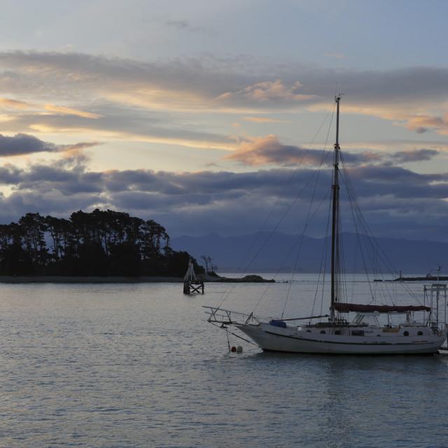"""""""Sunset over Haulashore Island, Nelson, Nelson region, South Island, New..."""" stock image"""