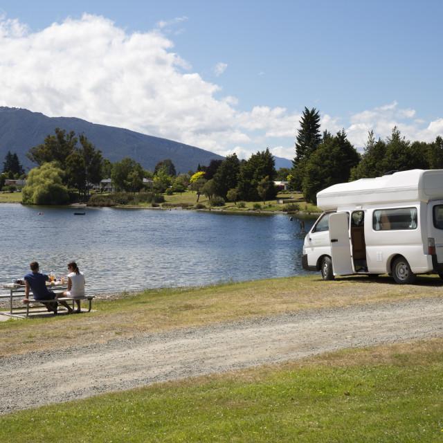 """Campervan beside Lake Te Anau, Te Anau, Southland, South Island, New Zealand,..."" stock image"