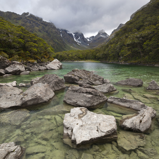 """Lake Mackenzie, Routeburn Track, Fiordland National Park, UNESCO World..."" stock image"
