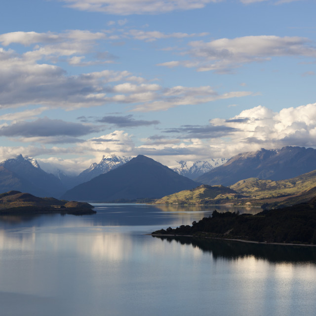 """Lake Wakatipu looking to Glenorchy and Mount Earnslaw, Glenorchy, Otago,..."" stock image"