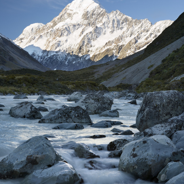 """Hooker Valley and river with Mount Cook, Mount Cook National Park, UNESCO..."" stock image"