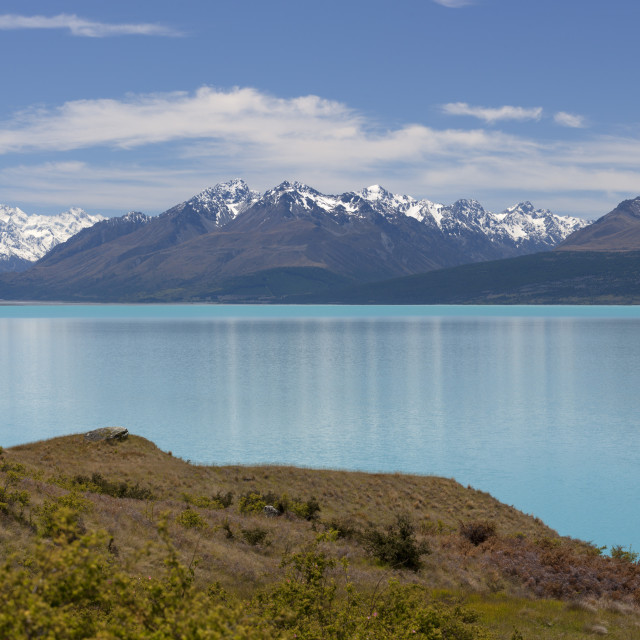 """Mount Cook and Lake Pukaki, Mount Cook National Park, UNESCO World Heritage..."" stock image"