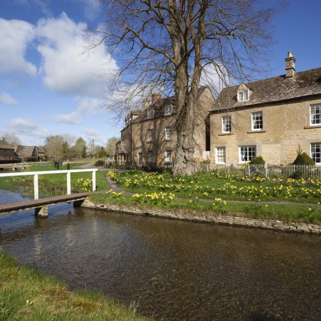 """""""Cotswold cottages by the River Eye, Lower Slaughter, Cotswolds,..."""" stock image"""